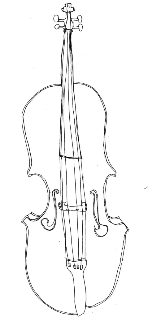 Drawing of a cello