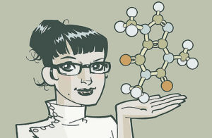 Drawing of a woman holding a molecule model on her palm