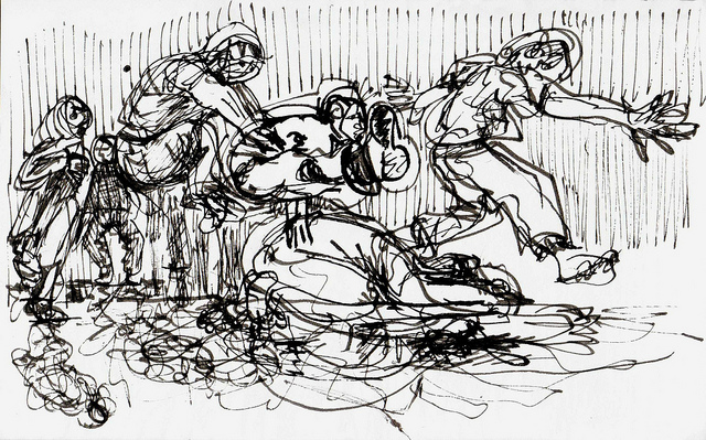 Pen and ink gesture drawing of figures progressing from left to right across the page