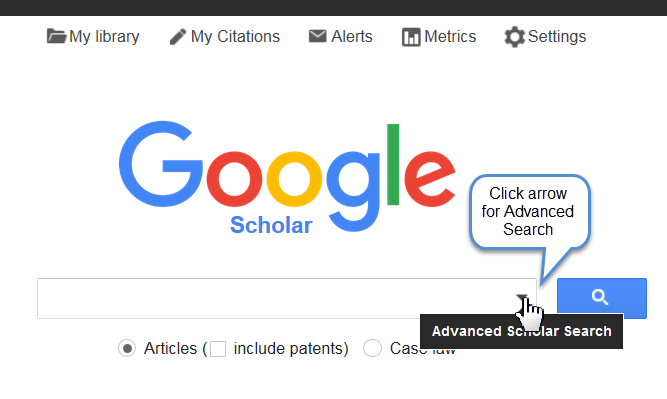 Screenshot of google scholar, showing the drop down option for the advanced search.