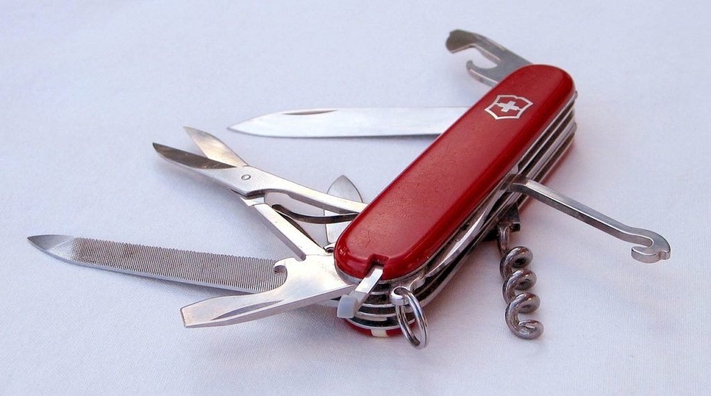 Swiss Army knife with all of the pieces open.
