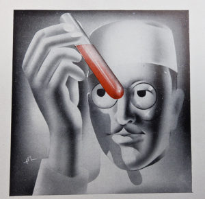 Painting in black and white of a man in white cap holding a test tube filled with red liquid