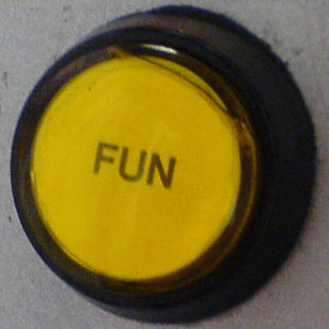 """Yellow button labeled """"fun"""""""