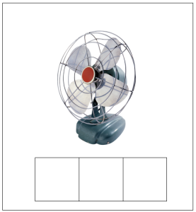 "Figure 3. Sample of an Elkonin Box featuring the word ""fan."" The picture of the word eases the memory load for students as they concentrate on segmenting the individual sounds. Used with permission from Microsoft."