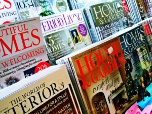 Magazine rack. Titles visible include House & Garden, The World of Interiors, Homes & Gardens, Period Living.