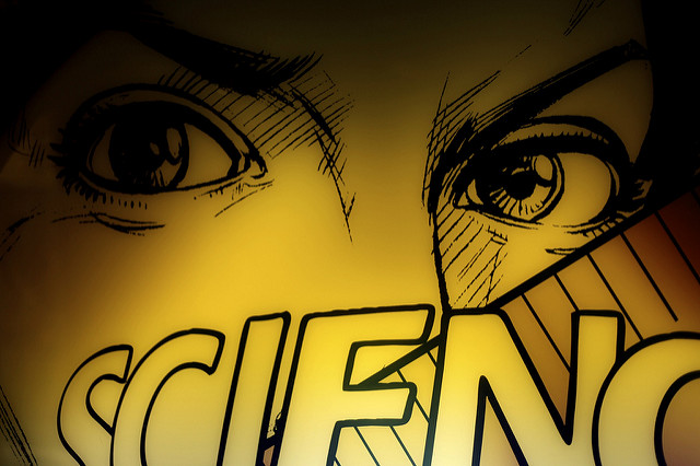 "Comic panel showing close-up of eyes and the word ""Science"""
