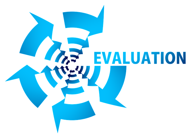 Graphic showing concentric blue arrows moving clockwise, with the word Evaluation as the starting and end point
