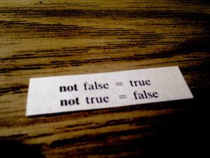 "Fortune cookie slip reading ""not false = true / not true = false"""