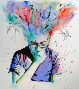 Painting of person in purple shirt with head in thoughtful pose, bright colors streaming from his skull