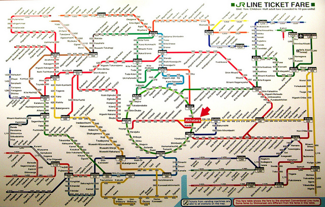 Subway map showing very convoluted red, yellow, green, blue, and black lines with hundreds of stops marked.