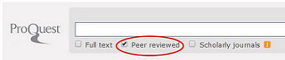 Screenshot of a ProQuest database search with a peer-reviewed checkbox option.