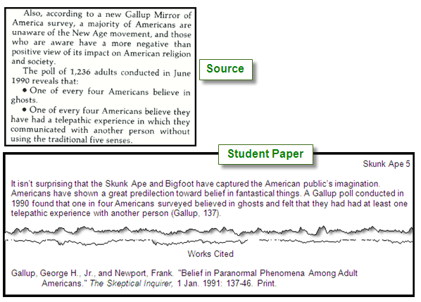 Passage from a source text with an example of a student paper in which they have paraphrased the content, included a citation in parenthesis, and also included a citation in the works cited list.