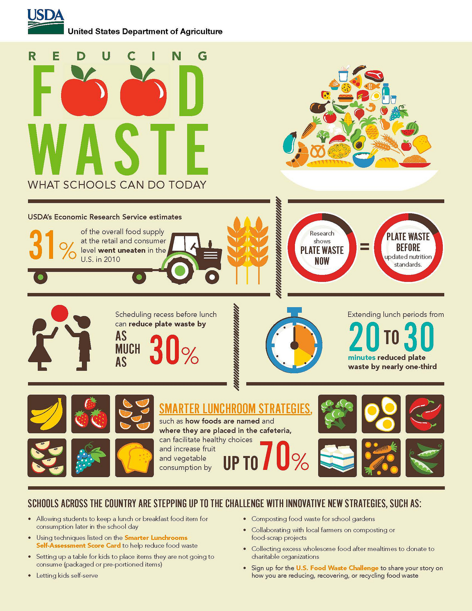 Infographic: Reducing Food Waste: What Schools Can Do Today. Image of a plate piled with clip art of food items at top. Next block: image of tractor pulling flat trailer towards wheat. USDA's Economic Research Service estimates 31% of the overall food supply at the retail and consumer level went uneaten in the U.S. in 2010. Next block: two pie charts on plates. Left: Research shows Plate Waste Now (10% of plate chart in dark brown, rest in red) = Plate waste before updated nutrition standards (also 10% dark on pie chart compared to rest in bright red). Next block: two children playing with a red ball. Scheduling recess before lunch can reduce plate waste by as much as 30%. Next block: stop watch with 20 seconds marked in bright orange, next 10 seconds in yellow, rest in white. Extending lunch periods from 20 to 30 minutes reduced plate waste by nearly one-third. Next block: Brown squares with drawings of food items surround text in middle. Smarter lunchroom strategies, such as how foods are named and where they are placed in the cafeteria, can facilitate healthy choices and increase fruit and vegetable consumption by up to 70%. Last block: Schools across the country are stepping up to the challenge with innovative new strategies, such as: Allowing students to keep a lunch or breakfast food item for consumption later in the school day. Using techniques listed on the Smarter Lunchrooms Self-Assessment Score Card to help reduce food waste. Setting up a table for kids to place items they are not going to consume (packaged or pre-portioned items). Letting kids self-serve. Composting food waste for school gardens. Collaborating with local farmers on composting or food-scrap projects. Collecting excess wholesome food after mealtimes to donate to charitable organizations. Sign up for the U.S. Food Waste Challenge to share your story on how you are reducing, recovering, or recycling food waste.
