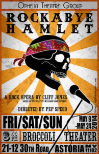Concert Poster for Rockabye Hamlet, showing a skull wearing a tye-dye bandana singing into a microphone