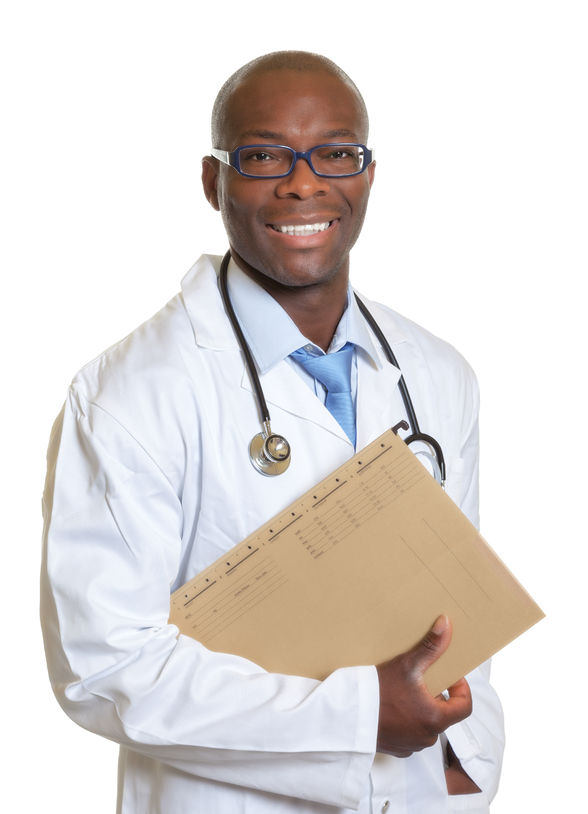 A doctor holding a file folder of information