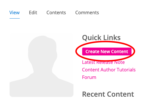 """Screenshot of H5P website with """"Create New Content"""" button circled."""