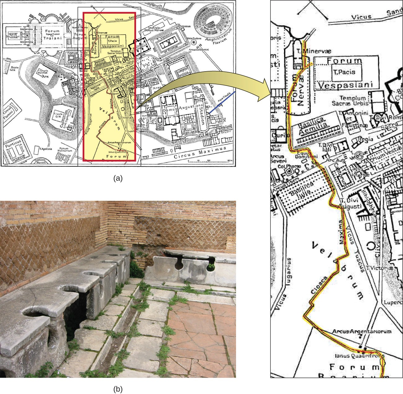 Figurea is a map of a city containing a stadium, forum, and other structures. Running through the center of the city is a red line. Figureb is a photograph of a corner of a room. There is a trough between the walls and the floor. This trough is covered with stone benches that have large holes (as for a toilet) in the bench. The holes span the top and front of the bench. There are six holes visible in the bench that runs along one side of the image and two more in the bench along the other side. The image does not show the entire room so there are likely more available spots in this room.