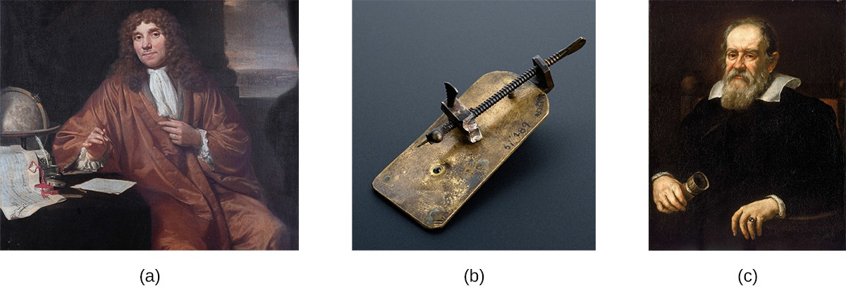 Photo a is of Antonie van Leeuwenhoek. Photo b is of a small metal plate with a long screw attached along its length. The tip of the screw is a fine point that sits just in front of an opening on the plate. Photo c is a portrait of Galileo Galilei.