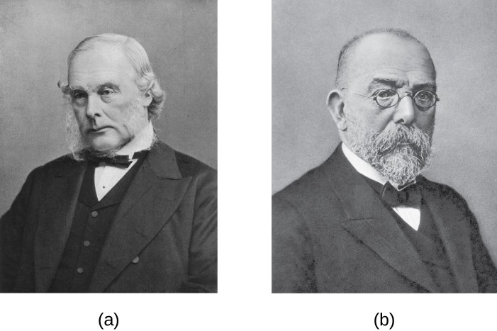 a) Photo of Joseph Lister b) Photo of Robert Koch