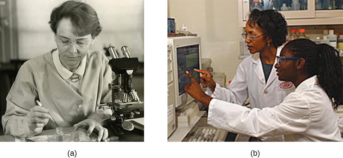 a) Photograph of Barbara McClintock. B) Photograph of 2 women scientists in lab.