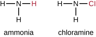 Ammonia has an N and 3 Hs. Chloramine has an N, 2 Hs and 1 Cl.