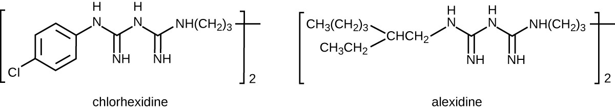 Chemical structure of chlorhexidine. A 6 carbon ring with CL on one carbon; on the other side of the ring is a chain of Nitrogens and carbon. Chemical structure of alexidine. A chain of carbons and nitrogens; the very end has a branch with 2 carbon chains.