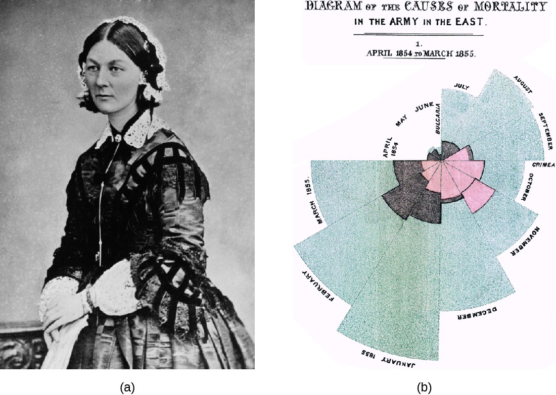 a) Photo of Florence Nightingale. B) A diagram with a wedge for each moth three different colors show different causes of death.
