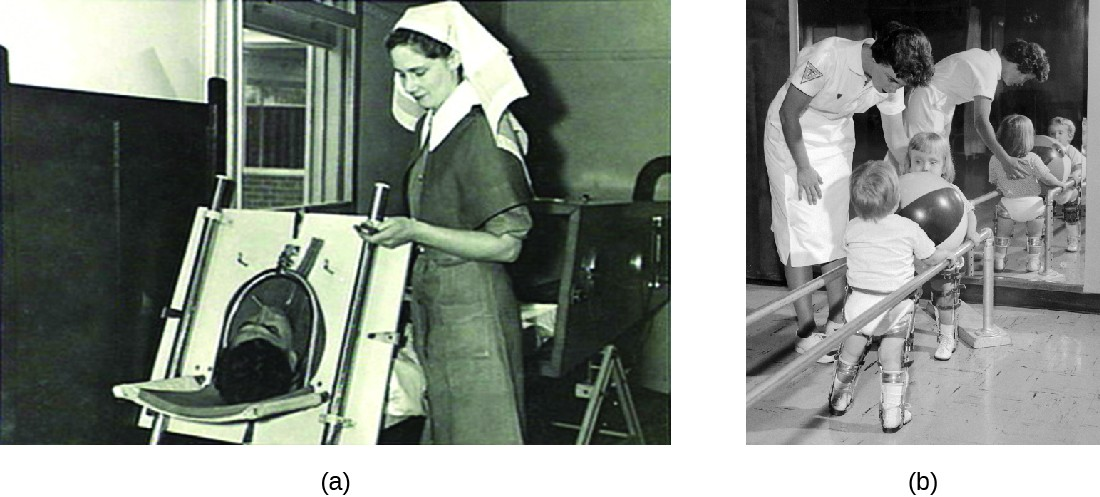 a) Photo of person in a large machine with only their head exposed; a nurse stands next to them. B) photo of children held between two bars holding a ball.