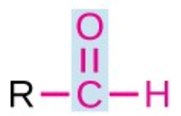 a red C double bonded O and an H; the C is also bound to a black R. The C and its bonded O are highlighted in blue.