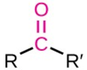 a red C double bonded to an O; the C is also bound to 2 black Rs