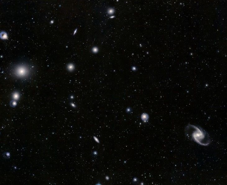 Image of the Fornax Cluster of Galaxies. Many elliptical and spiral galaxies are scattered throughout the image.
