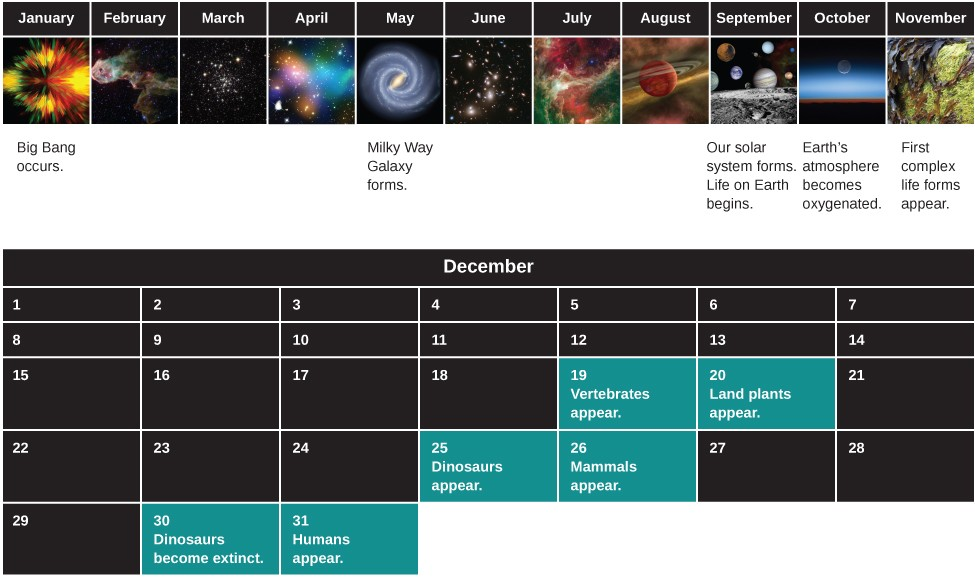 Diagram of the History of the Universe, compressed into a single year. The upper portion of the figure shows the calendar as one row from January to November. Events of special significance have been labeled. Starting at far left under January is labeled