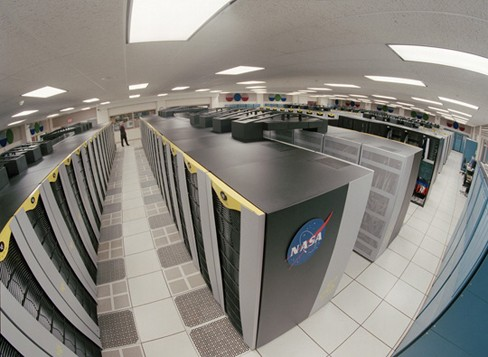 Photograph of the rows of supercomputers at NASA's Ames Research Center.