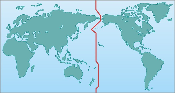 Map of the Earth Indicating the International Date Line. On this map, centered on the Pacific Ocean, a red line representing the IDL is drawn from north to south across the entire Pacific. It zig-zags a bit to avoid crossing landmasses or islands.