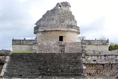 Photograph of the Mayan observatory at Chichen Itza in Mexico, one of the few circular structures erected by the Maya.