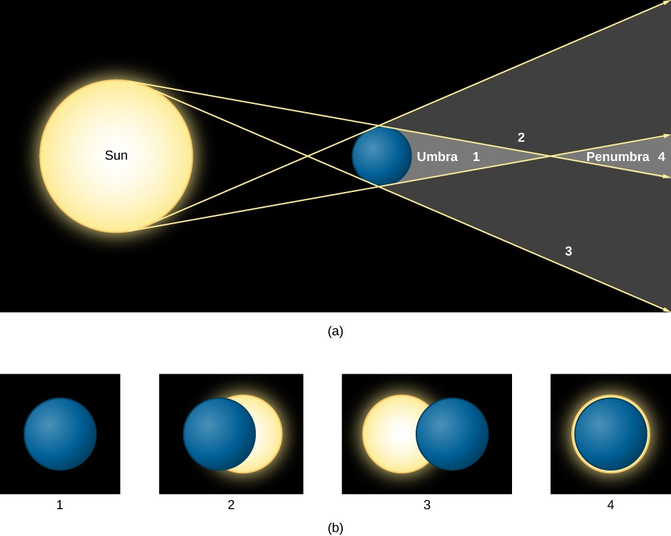 Solar Eclipse. In panel (a), at top, the geometry of a solar eclipse is drawn as seen from above. At left the Sun is drawn as a large yellow disc. At center, a hypothetical spherical body is drawn as a blue disc. The shadow cast by this body is indicated by two yellow arrows which are drawn from the top of the Sun's disk to the blue body; one touches the top of the body and continues to the right and one touches the bottom and continues to the right. To complete the shadow, two yellow arrows are drawn from the bottom of the Sun's disk to the blue body; one touches the bottom of the blue disc and continues to the right and one touches the top and continues to the right. Beyond the blue disc on the right side of the diagram, four areas within the shadow are indicated with numbers corresponding to the images in panel (b). At position 1, closest to the blue disc, the eclipse is total. At positions 2 and 3 the eclipses are partial. At position 4, furthest from the blue disc, the eclipse is annular.