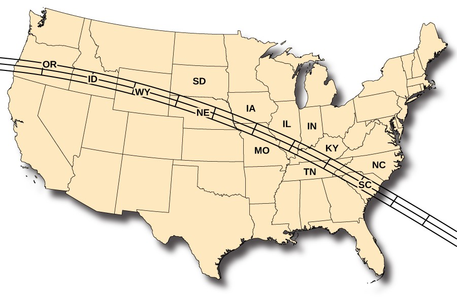 2017 Total Solar Eclipse. The path of the eclipse across the United States is drawn on this map. Beginning in OR, the path moves southeastward through ID, WY, NE, KS, MO, TN and SC.