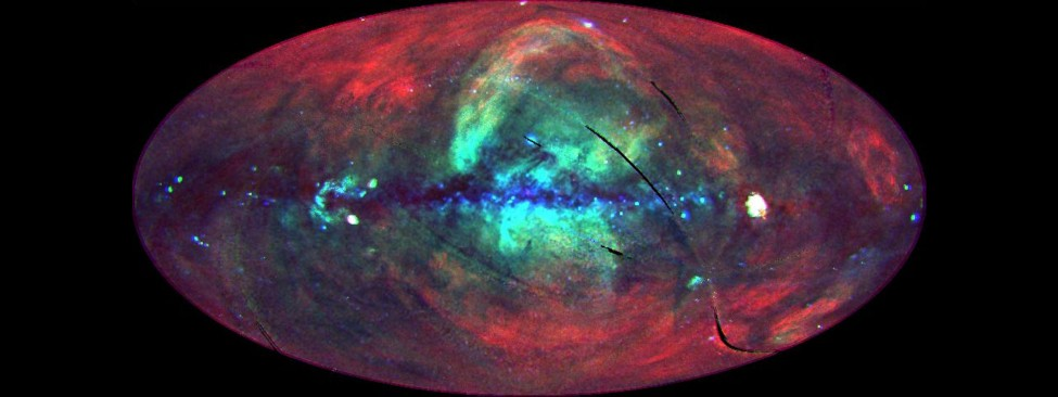 A false color image of the entire sky seen in x-rays, with different colors representing different x-ray energies. The image shows the disk of the Milky Way galaxy in blue running horizontally through the center of the image, with a few point sources scattered along its length. A diffuse, cloudy shape of blue and yellow emanates from the center of the galaxy and extends above and below the disk. This represents distant x-ray sources near the center of the Milky Way. And finally, a red diffuse glow covers most of the image and depicts the hot gas in our local vicinity of the galaxy.