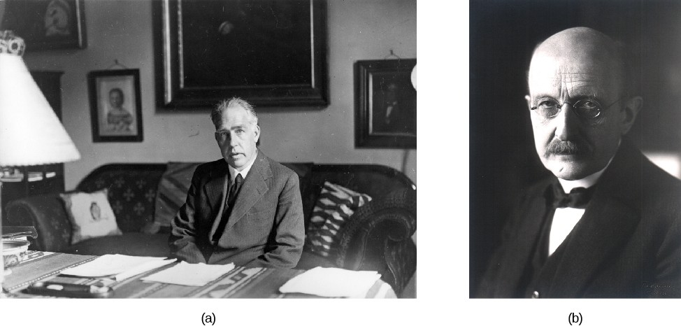 Image A is of Niels Bohr. Image B is of Max Planck.
