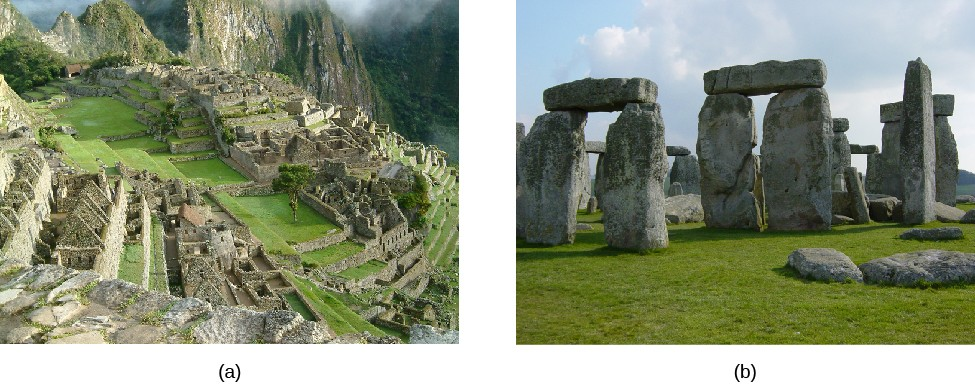 Two photographs of pre-telescopic observatories. At left (a) is a photo of the ruins of Machu Picchu in Peru. On the right (b) is a photo of the stone monoliths, with lintels, at Stonehenge in England.