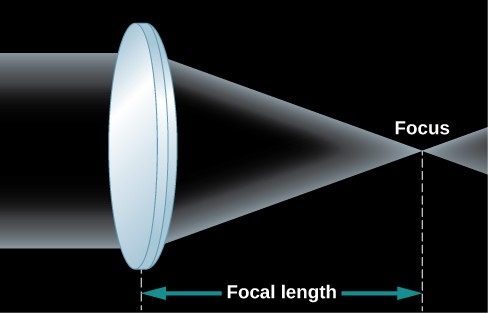 Diagram of a simple lens. At left is a drawing of a convex lens seen in profile. It looks a bit like an American football. Parallel light rays enter the lens from the left and are bent inward to the right as the now converging rays exit the lens. The rays meet some distance from the lens at what is known, and labeled as, the focus. Also labeled is the focal length, which is the distance from the lens to the focus point.