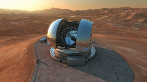 Illustration of the European Extremely Large Telescope seen through the open dome of the building, and the surrounding desert landscape in Chile.