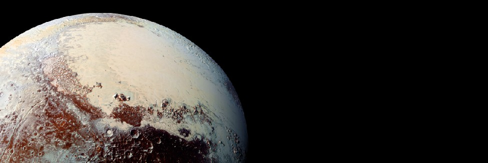 Image of a portion of the surface of Pluto. In this photograph from New Horizons, the smooth, white Sputnik plains are seen covering most of the upper right of the image. Rugged, heavily cratered terrain covers the lower center and upper left.