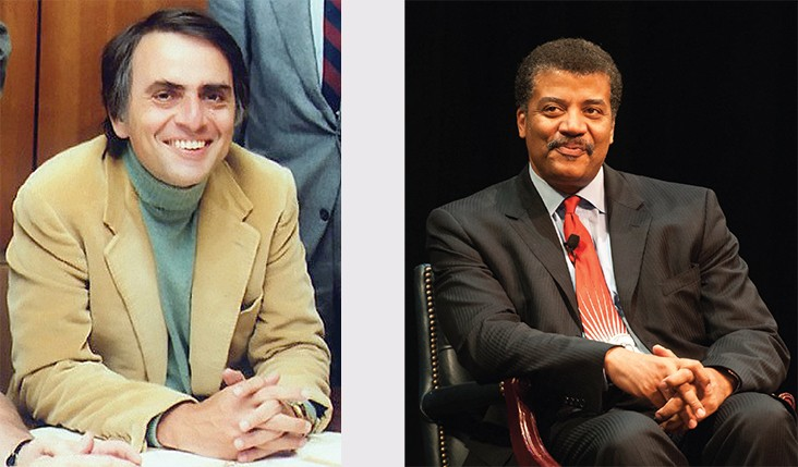 Left image: photograph of Carl Sagan. Right image: Photograph of Neil deGrasse Tyson.