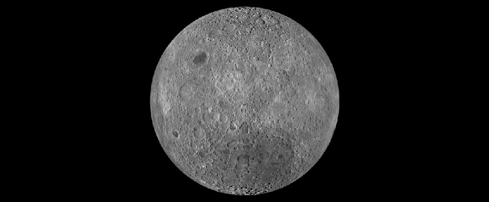 Image of the Moon taken by the Lunar Reconnaissance Orbiter. This composite image shows the Lunar surface not seen from Earth. This region is so heavily cratered that most overlap. Only one small mare (Lunar
