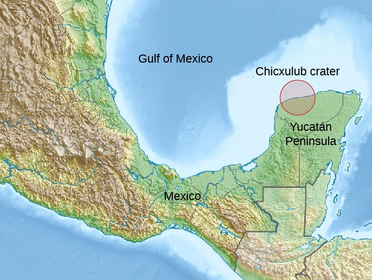 Illustration of the Site of the Chicxulub Crater. The location is indicated with a circle overdrawn on the upper northwest corner of the Yucatan Peninsula in Mexico. Approximately half of this circle is on land, the other half lies on the Gulf of Mexico. Also shown on the map are the surrounding countries of Belize, Guatemala, Honduras, and Cuba.
