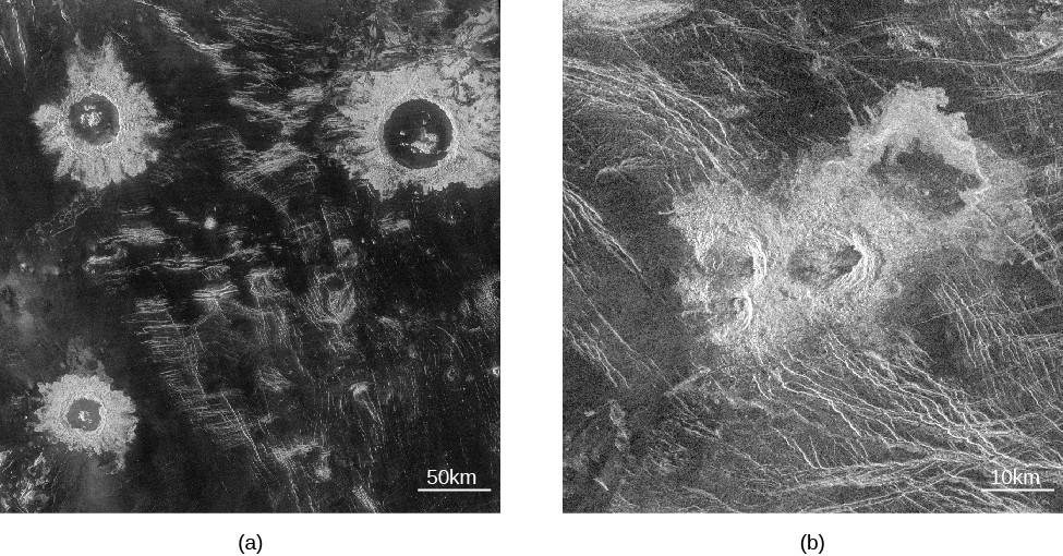 Radar image of impact craters on Venus. In panel (a), on the left, three impact craters are seen surrounded by ejecta fields. The scale at the lower right reads
