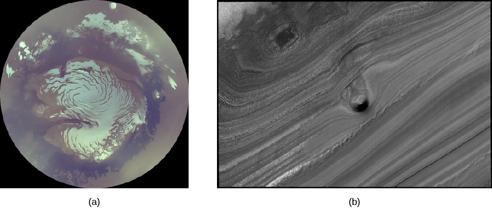 The martian north polar cap. Panel (a), on the left, shows the north polar cap from orbit. The cracks and irregularities in the ice show a distinct spiral pattern. Clouds are seen near the pole in the upper half of the image. Panel (b), on the right, shows a close-up of the terrain near the polar ice. There is a mound about 40 meters high that visible near the center of the picture.