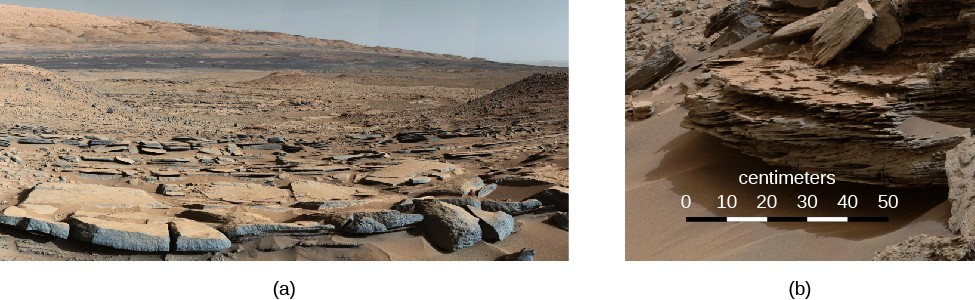 Curiosity in Gale crater. A wide-field photo taken within the crater is presented in panel (a), on the left. A formation of flat, cracked rocks is seen in the lower half of the image. Panel (b), on the right, shows a close-up of a rock within the crater. The rock shows many distinct layers which perhaps is evidence of flowing water and sedimentation. The scale at bottom is labeled