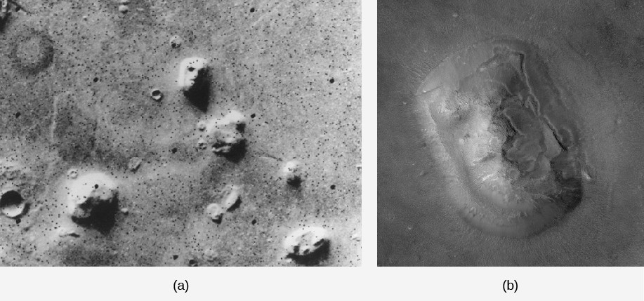 The face on Mars. The image in panel (a), on the left, shows the wide field Viking orbiter image. The